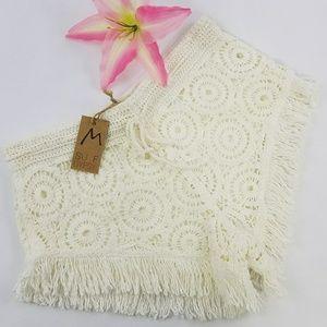 Surf Gypse Crochet Shorts with Fringe Sz M